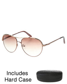 G Couture Metal Frame Aviator Sunglasses with Emboss Hard Case Brown