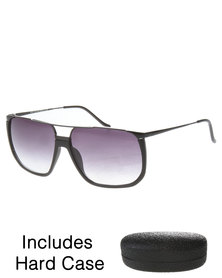 G Couture Aviator Style Sunglasses with Emboss Hard Case Black