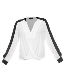 G Couture Exclusive Monochrome Mock Wrap Front Shirt Black/White