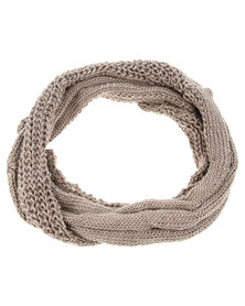 G Couture Small Twist Cable Snood Beige
