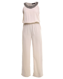 G Couture Embelished Neck Detail Jumpsuit Cream