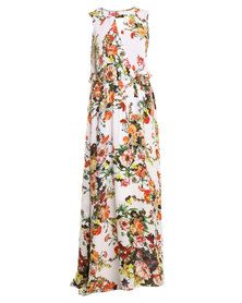 G Couture Floral Maxi Dress White