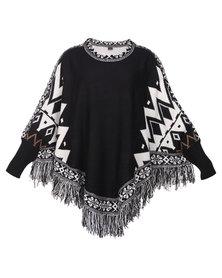 G Couture Poncho Print Black