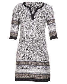G Couture Border Printed Shift Dress Mocca