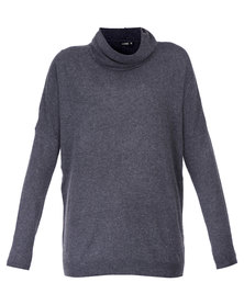 G Couture Polo Neck Jumper Charcoal
