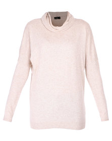 G Couture Polo Neck Jumper Stone