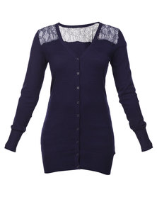 G Couture Boyfriend Cardigan with Lace Navy