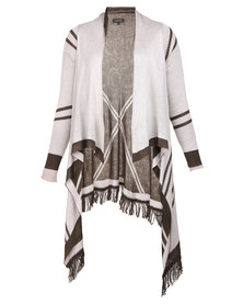 G Couture Waterfall Cardigan Olive and Stone