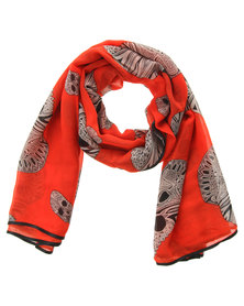 G Couture Skull Print Scarf Red