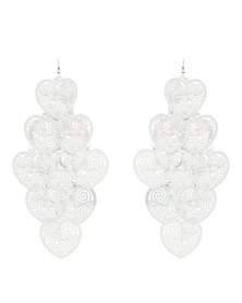 G Couture Heart Drop Earrings Silver-Tone