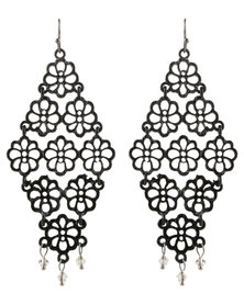 G Couture Flower Drop Earrings Black