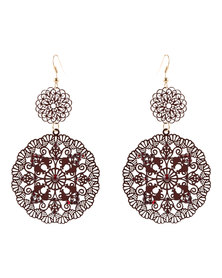 G Couture Spiral Flower Earrings Burgundy