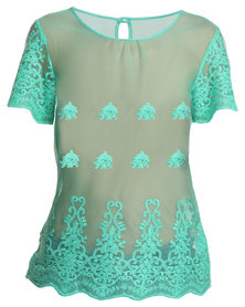 G Couture Mesh Top Green