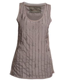 G Couture Beaded Top Taupe