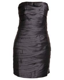 G Couture Boobtube Ruche Dress Grey