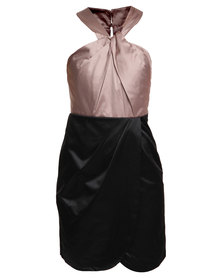 G Couture Colourblock Sheen Dress Black