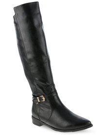 G Couture Buckled Knee High Boots Black