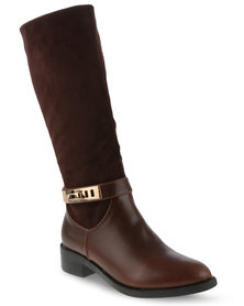 G Couture Gold Trim Knee High Boots Brown