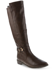 G Couture Buckled Knee High Boots Brown