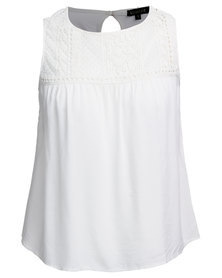 G Couture Embroided Lace Blouse White
