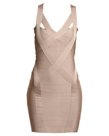 G Couture Bodycon Bandage Dress Stone