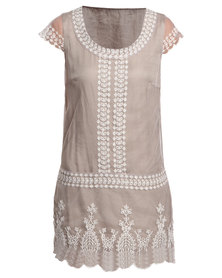 G Couture Mesh Dress Stone