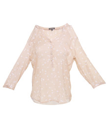 G Couture Dot and Button Front Blouse Cream