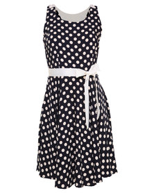 G Couture Crocheted Back Detail Spot Dress Multi