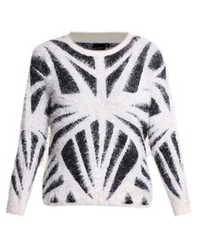 G Couture Printed Fluffy Jersey Black and Milk