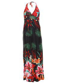 G Couture Flower Maxi Dress Multi-Colour