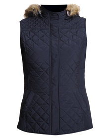 G Couture Faux Fur Hood Gillet Navy