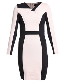 G Couture Shift Dress Black and Stone