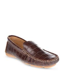 G Couture Faux Croc G Moccasins Brown