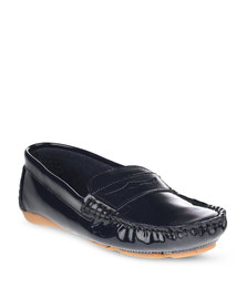 G Couture Leather Moccasins Blue
