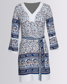 G Couture V-Neck Printed Tunic Blue