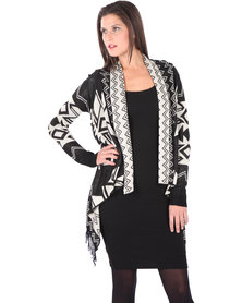 G Couture Aztec Cardigan Black