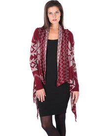 G Couture Aztec Cardigan Burgundy