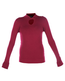 G Couture Twist Neck Knit Top Berry