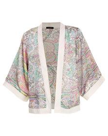 G Couture Paisley Print Kimono Pink