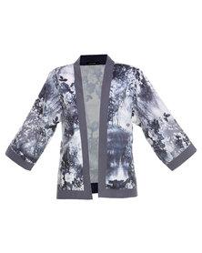 G Couture Print Kimono Grey