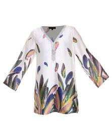 G Couture Leaf Print with Beading Detail Linen Top Multi