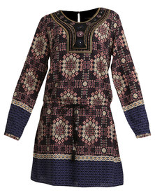 G Couture Printed Dress With Beading Detail Multi