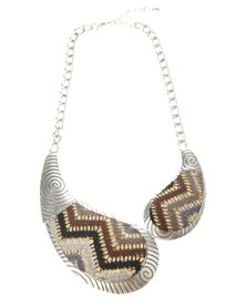 G-Couture Aztec & Spiral Design Statement Necklace Silver-Tone