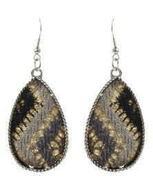 G Couture Aztec Beaded Earrings Silver-Tone