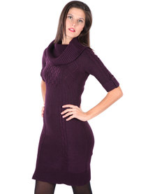 G Couture Cowl Neck Knit Dress Purple