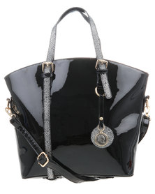 G Couture Patent Reversable Straps Shopper Handbag Black