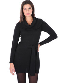 G Couture Cowl Neck Knit Dress with Belt Black