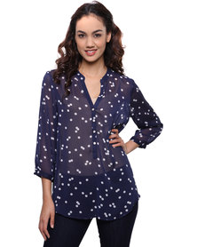 G Couture Dot and Button Front Blouse Blue