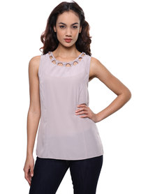 G Couture Knot Neck Detail Tunic Beige