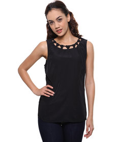G Couture Knot Neck Detail Tunic Black